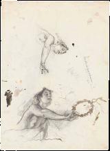 Mosè Bianchi, Due studi di una donna che tiene una corona d'alloro [verso]