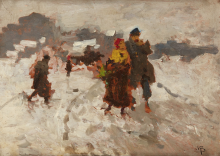 Mosè Bianchi, Figure che camminano nella neve