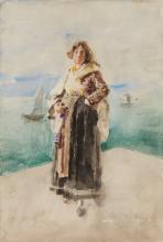 Mosè Bianchi, Giovane donna in riva al mare