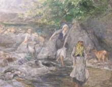 Bianchi Mosè, Il guado del torrente | The ford of the stream