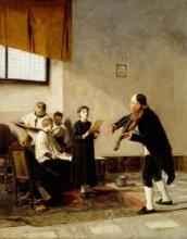 Mosè Bianchi, La vigilia della sagra (Una lezione di canto corale)