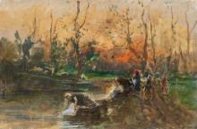 Mosè Bianchi, Lavandaie sulla riva del fiume