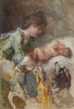 Mosè Bianchi, Madre e il suo bambino con un cane