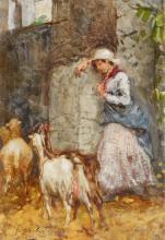 Mosè Bianchi, Pastorella in piedi appoggiata a un muro