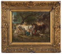 Mosè Bianchi, Pastorelle alla mungitura in paesaggio