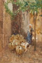 Mosè Bianchi, Pastorelle e pecore in un vicolo