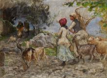 Mosè Bianchi, Pastorelle, capre, pecore