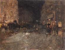 Mosè Bianchi, Scena di strada di notte con carrozze