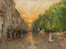 Mosè Bianchi, Scena di strada e tramonto