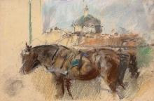 Mosè Bianchi, Studio di cavallo e chiesa di San Lorenzo