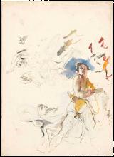 Mosè Bianchi, Studio di donne drappeggiate e della testa di un cavallo [recto]