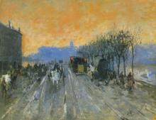 Mosè Bianchi, Via di Milano al tramonto