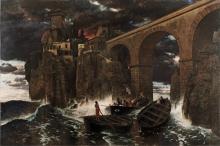Boecklin, Attacco di pirati (Paesaggio eroico) | Überfall von Seeräubern (Heroische Landschaft) | Attaque de pirates (Paysage héroïque) | Attack by pirates (Heroic landscape)