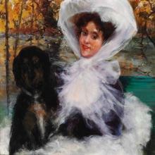Boldini (attribuito a), Donna elegante con il suo cane.jpg