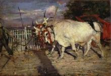 Giovanni Boldini, Bovi al carro [recto]