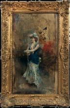 Giovanni Boldini, Donna elegante in abito blu e ombrello