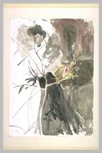 Boldini, Figura femminile dietro un melo con alcuni frutti | Silhouette féminine derrière un pommier portant quelques fruits