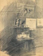 Boldini, Interno dello studio con busto del Pollaiolo e Carro alla porta di Asnieres.jpg