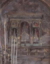 Giovanni Boldini, Interno di chiesa con vista dell'organo