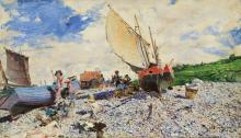 Govanni Boldini, La spiaggia di Etretat