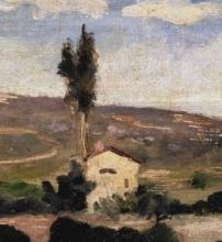 Giovanni Boldini, Paesaggio con albero e casa [dettaglio]