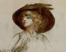 Boldini, Ritratto a mezzo busto di una giovane signora bionda con cappello nero.jpg
