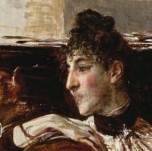 Giovanni Boldini, Ritratto di Alaide Banti al pianoforte [dettaglio]