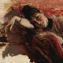 Boldini, Ritratto di Alaide Banti sul divano rosso [dettaglio].jpg