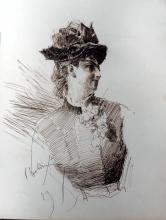 Giovanni Boldini, Ritratto di donna a mezzo busto di profilo, con cappello