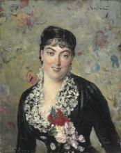 Giovanni Boldini, Ritratto di donna con bouquet di rose