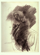 Boldini, Studio di ritratto di donna di profilo [recto] | Portrait study of a woman in profile [recto]