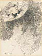 Boldini, Una donna, a mezzo busto con un cappello ornato di piume.jpg