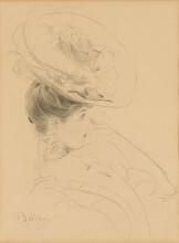 Boldini, Una donna, a mezzo busto, con cappello, di profilo a destra.jpg