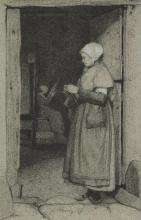 Bonvin, Una donna che lavora a maglia sull'uscio | Une femme tricotant sur la porte | A woman at the door, knitting