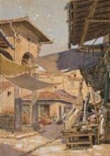 Odoardo Borrani (attribuito a), Il mercato vecchio di Firenze