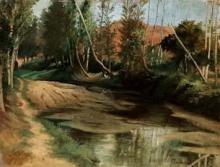 Odoardo Borrani (attribuito a), Nel bosco