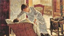 Odoardo Borrani, Giovane donna che culla il bambino [dettaglio]