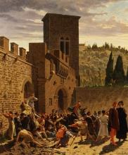 Borrani, Ritrovamento del cadavere di Jacopo de' Pazzi