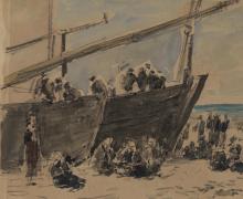Boudin, Barche e pescatori sulla spiaggia, Berck [dettaglio].png