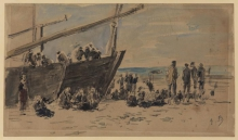 Boudin, Barche e pescatori sulla spiaggia, Berck.jpg
