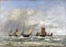 Eugène Louis Boudin, Berck, la partenza delle barche | Berck : le départ des barques | Berck: the departure of the boats