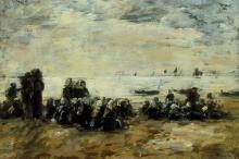 Boudin, Donne che aspettano barche da pesca sulla spiaggia di Berck.jpg