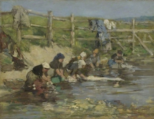 Boudin, Donne che lavano i panni in un ruscello | Laundresses by a stream