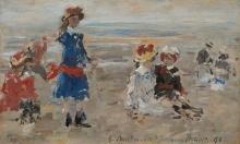 Eugène Louis Boudin, I bambini de Bériot sulla spiaggia | Les enfants de Bériot sur la plage