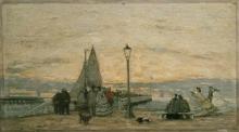 Eugène Louis Boudin, Il molo a Trouville: tramonto | The jetty at Trouville: sunset