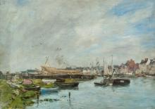Boudin, Il porto di Trouville, cantiere delle barche | Le port de Trouville, chantier de bateaux | The harbour of Trouville, boatyard