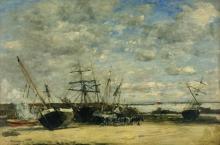 Boudin, Imbarcazioni e cavalli sulla spiaggia.jpg