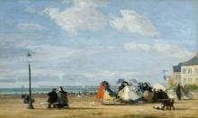 Boudin, La spiaggia a Trouville. L'Imperatrice Eugenia e la sua corte.jpg