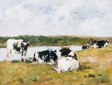 Boudin, Mucche sulla riva di un fiume.jpg