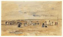 Boudin, Scena di spiaggia a Trouville | Scène de plage à Trouville | Beach scene at Trouville